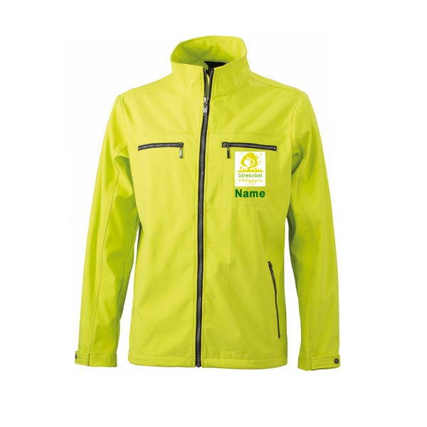 Softshell Jacke Inklusive Streuobst Pädagogen Brustwappen / Namen sowie Rückendruck