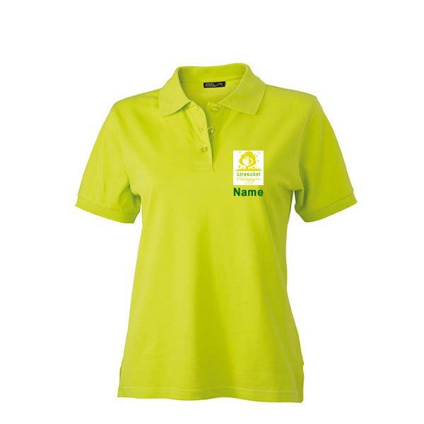 Frauen Polo Inklusive Streuobst Pädagogen Brustwappen / Namen sowie Rückendruck