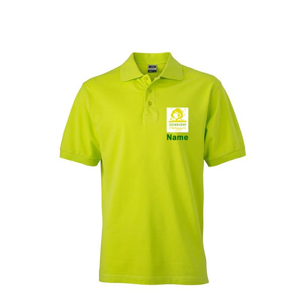 Polo Shirt Inklusive Streuobst Pädagogen Brustwappen / Namen sowie Rückendruck